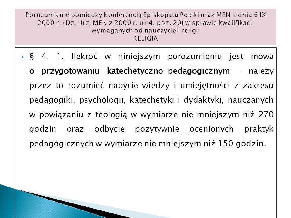 Porozumienie pomiędzy Konferencją Episkopatu Polski oraz MEN z dnia 6 IX 2000 r. (Dz. Urz. MEN z 2000 r. nr 4, poz. 20) w sprawie kwalifikacji wymaganych od nauczycieli religii RELIGIA