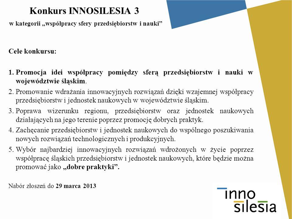 """Konkurs INNOSILESIA 3 w kategorii """"współpracy sfery przedsiębiorstw i nauki"""