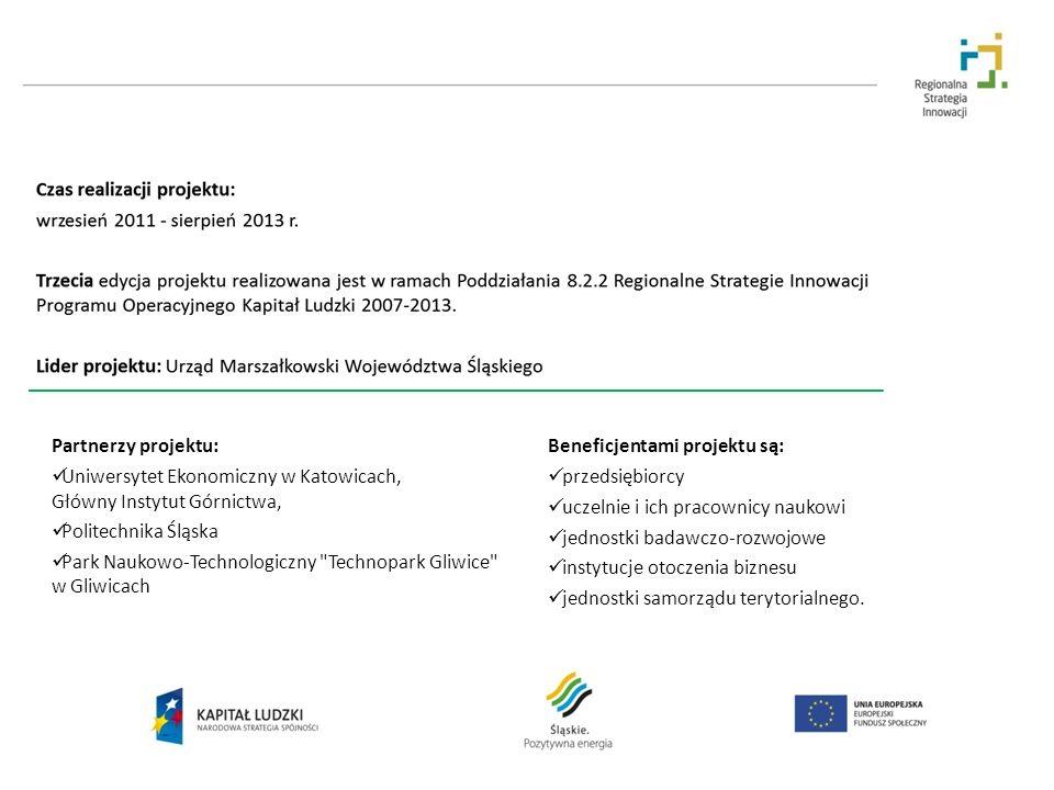 Partnerzy projektu: Beneficjentami projektu są: Uniwersytet Ekonomiczny w Katowicach, Główny Instytut Górnictwa,