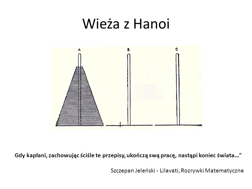 Wieża z HanoiGdy kapłani, zachowując ściśle te przepisy, ukończą swą pracę, nastąpi koniec świata...