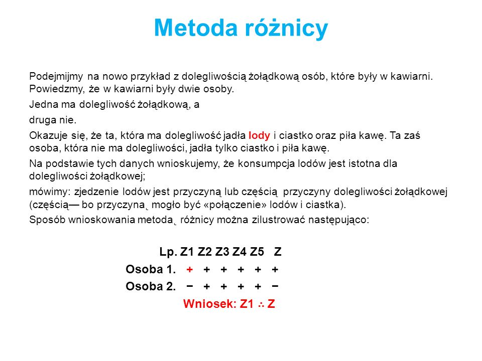 Metoda różnicy Osoba 1. + + + + + + Osoba 2. − + + + + −
