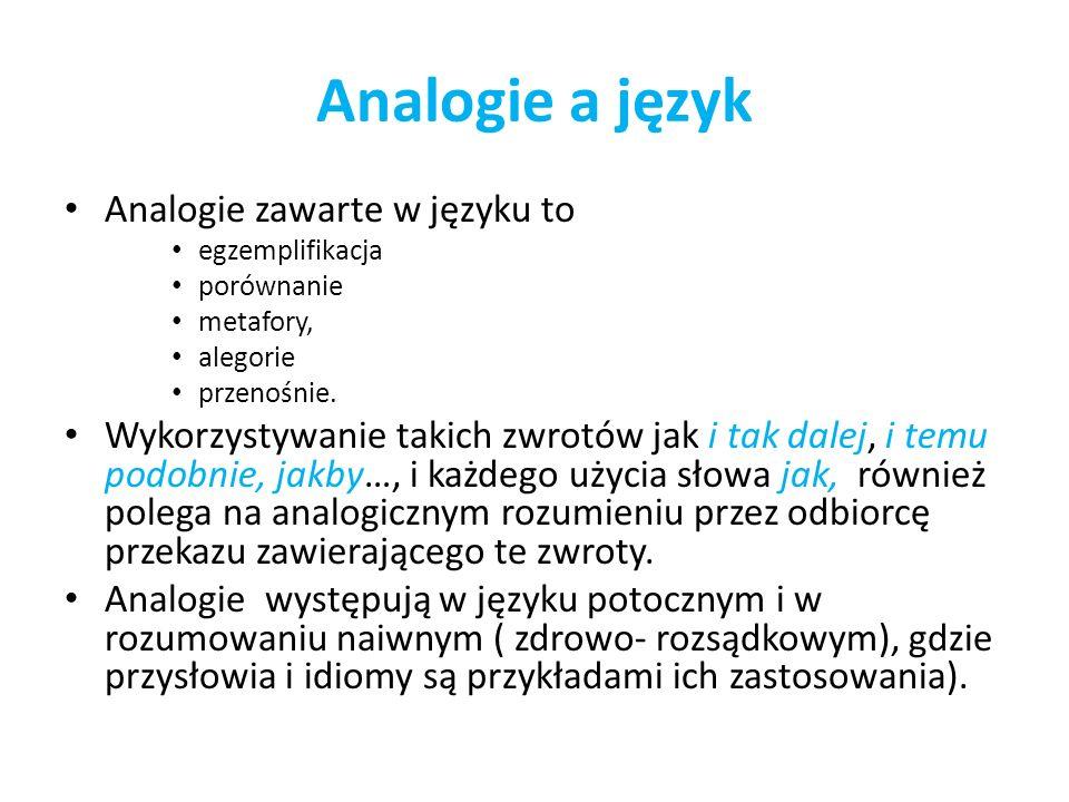 Analogie a język Analogie zawarte w języku to