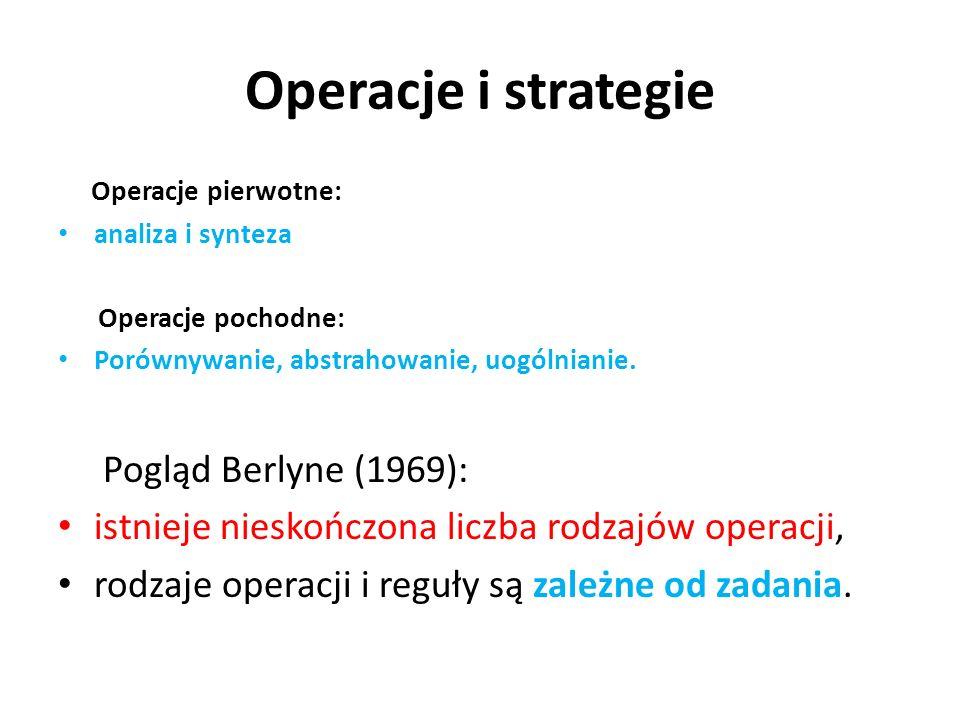 Operacje i strategie Pogląd Berlyne (1969):