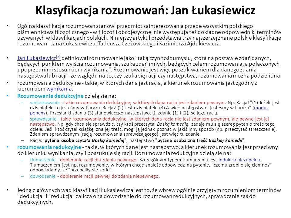 Klasyfikacja rozumowań: Jan Łukasiewicz