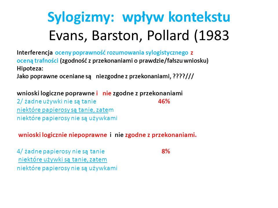 Sylogizmy: wpływ kontekstu Evans, Barston, Pollard (1983