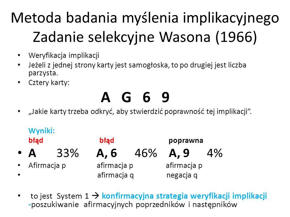 Metoda badania myślenia implikacyjnego Zadanie selekcyjne Wasona (1966)