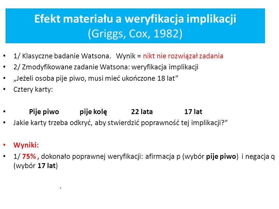 Efekt materiału a weryfikacja implikacji (Griggs, Cox, 1982)