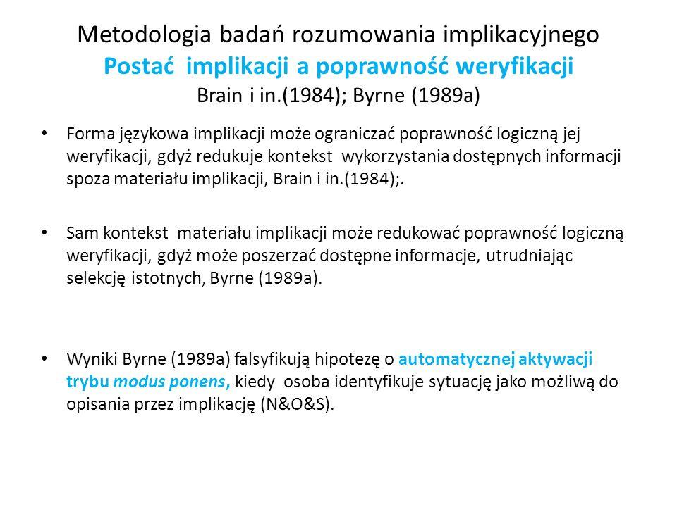 Metodologia badań rozumowania implikacyjnego Postać implikacji a poprawność weryfikacji Brain i in.(1984); Byrne (1989a)