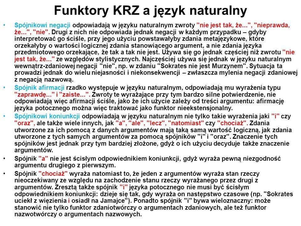 Funktory KRZ a język naturalny