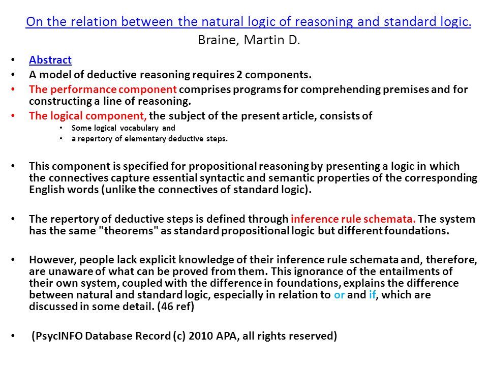 On the relation between the natural logic of reasoning and standard logic. Braine, Martin D.