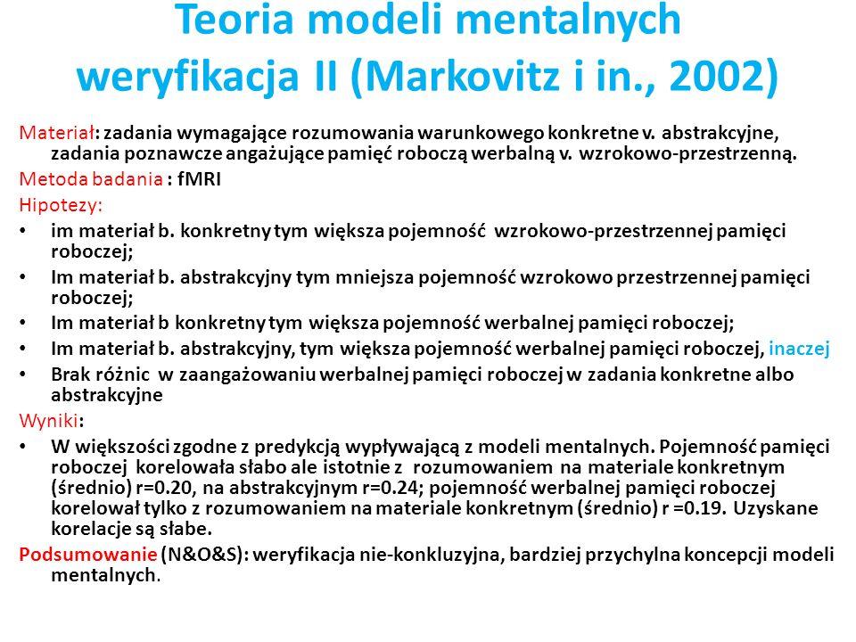 Teoria modeli mentalnych weryfikacja II (Markovitz i in., 2002)