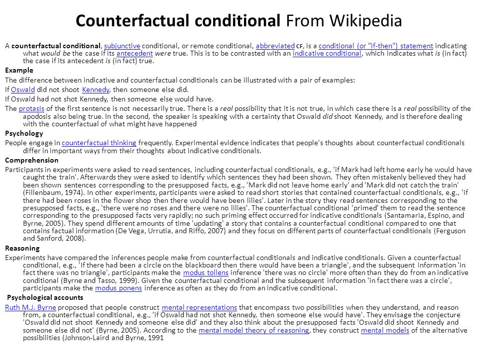 Counterfactual conditional From Wikipedia