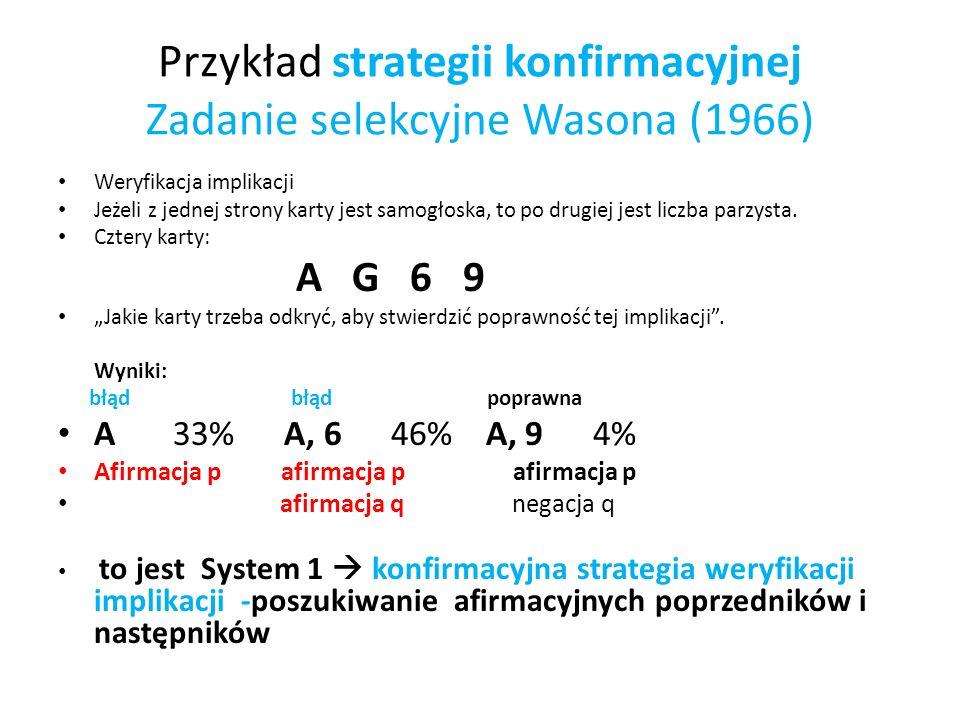 Przykład strategii konfirmacyjnej Zadanie selekcyjne Wasona (1966)