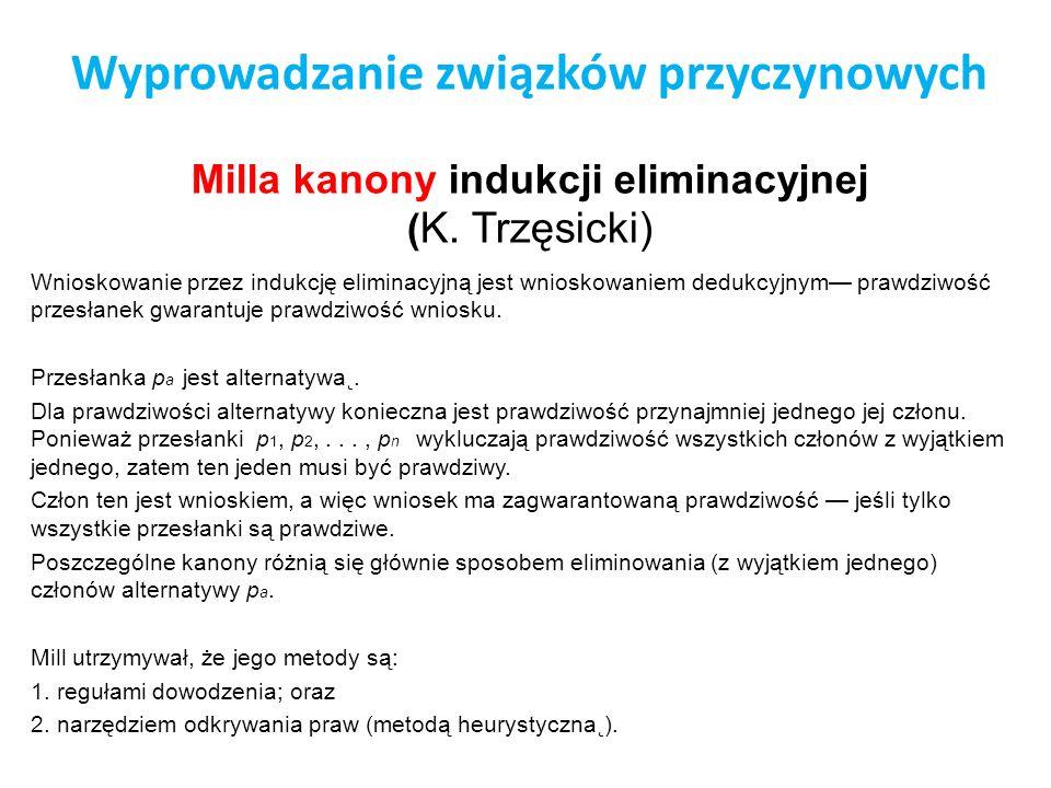 Wyprowadzanie związków przyczynowych Milla kanony indukcji eliminacyjnej (K. Trzęsicki)