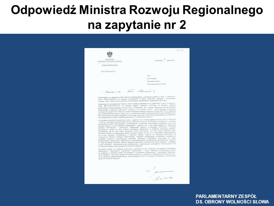 Odpowiedź Ministra Rozwoju Regionalnego na zapytanie nr 2
