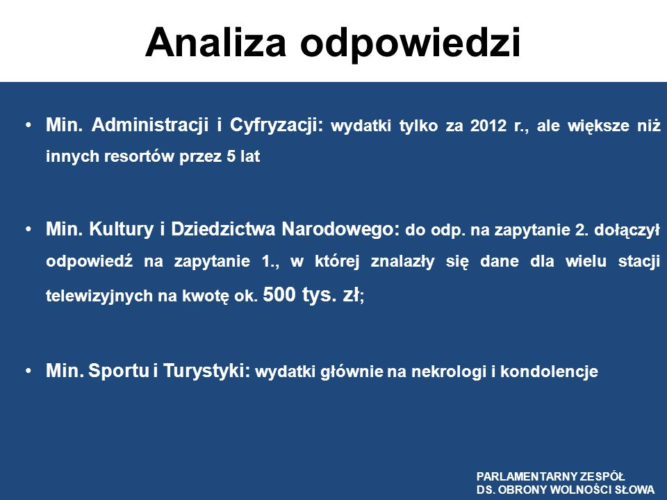 Analiza odpowiedzi Min. Administracji i Cyfryzacji: wydatki tylko za 2012 r., ale większe niż innych resortów przez 5 lat.