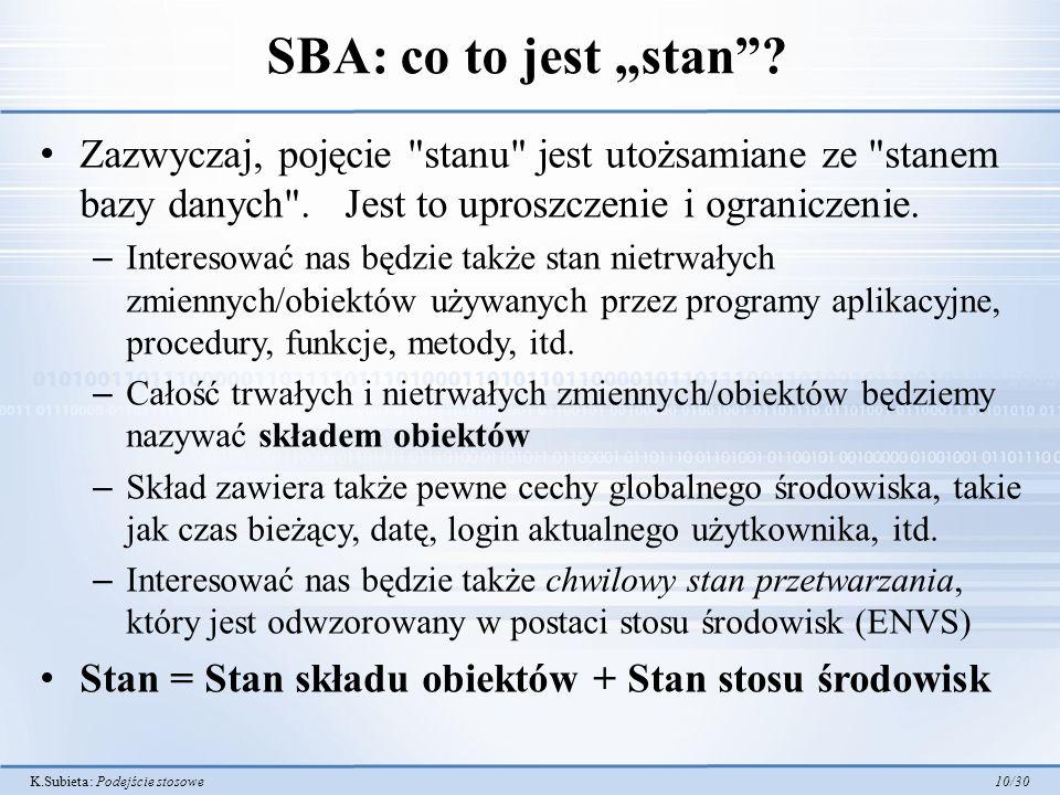 """SBA: co to jest """"stan Zazwyczaj, pojęcie stanu jest utożsamiane ze stanem bazy danych . Jest to uproszczenie i ograniczenie."""