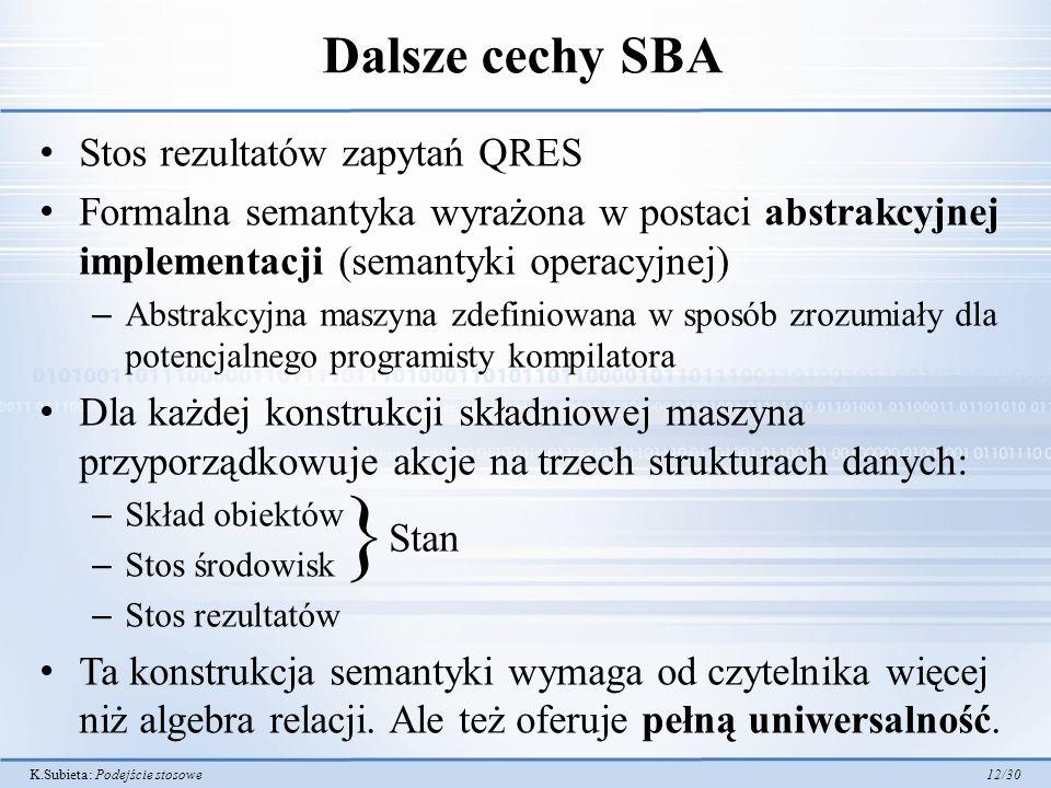 } Dalsze cechy SBA Stos rezultatów zapytań QRES