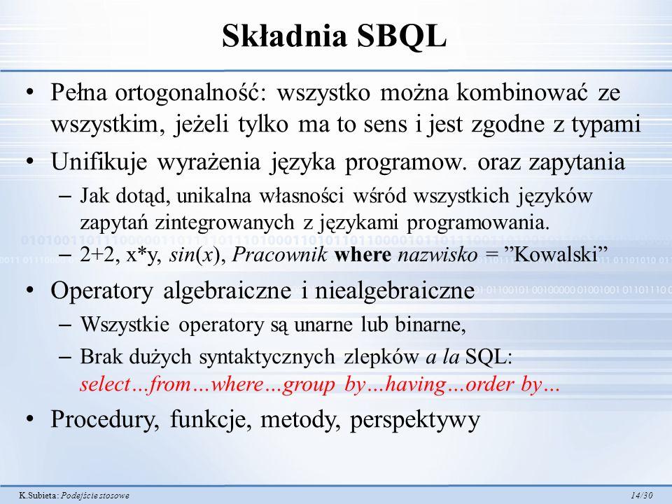 Składnia SBQL Pełna ortogonalność: wszystko można kombinować ze wszystkim, jeżeli tylko ma to sens i jest zgodne z typami.