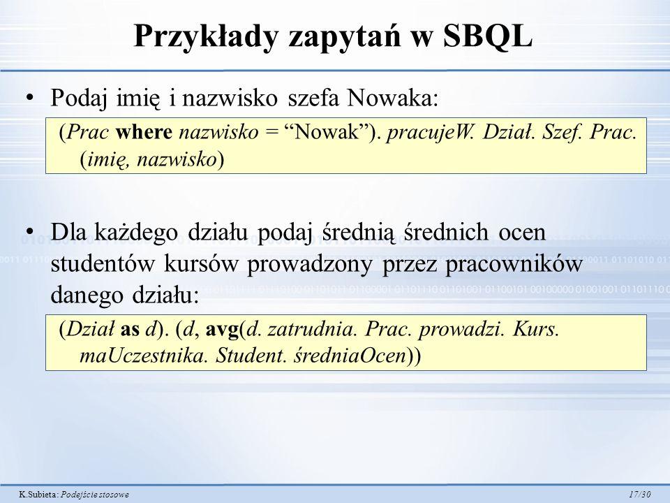 Przykłady zapytań w SBQL