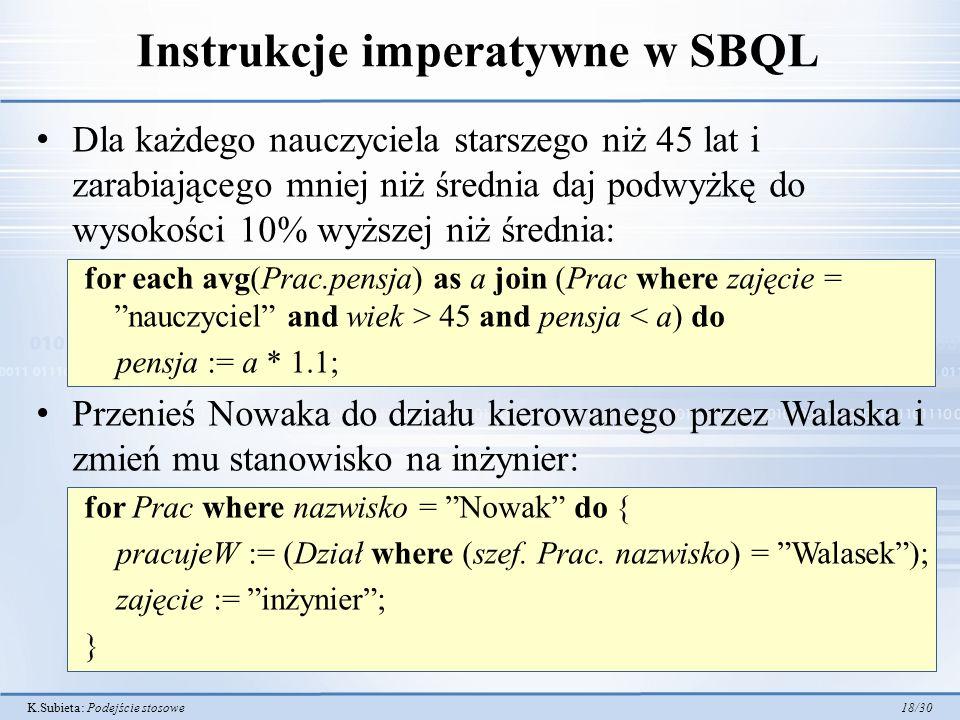 Instrukcje imperatywne w SBQL