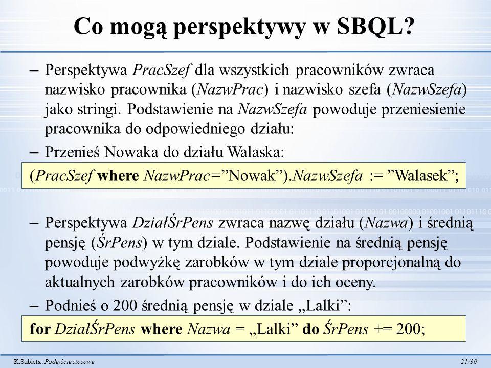 Co mogą perspektywy w SBQL