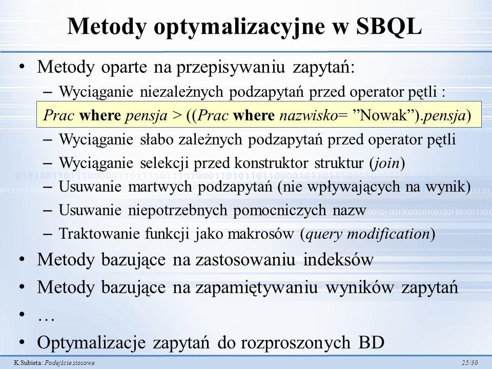Metody optymalizacyjne w SBQL