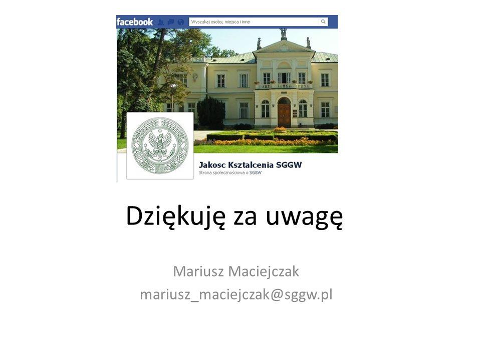 Mariusz Maciejczak mariusz_maciejczak@sggw.pl