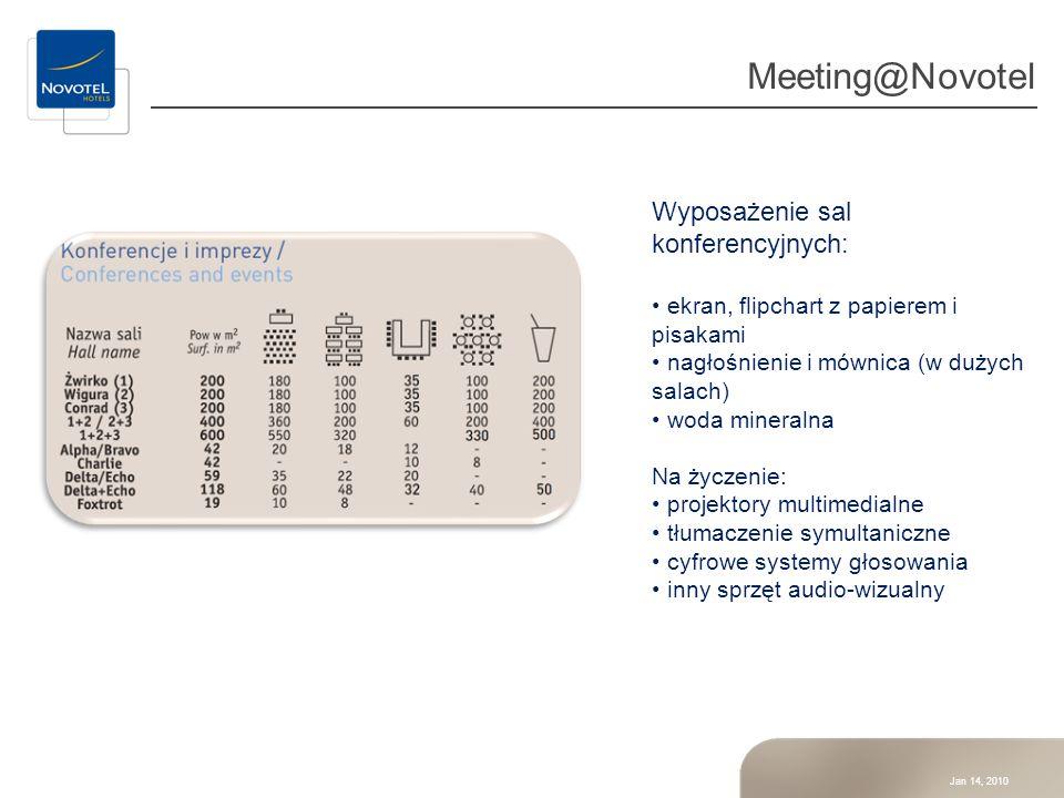 Meeting@Novotel Wyposażenie sal konferencyjnych: