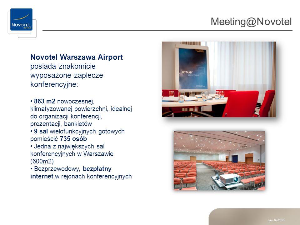 Meeting@Novotel Novotel Warszawa Airport posiada znakomicie wyposażone zaplecze konferencyjne:
