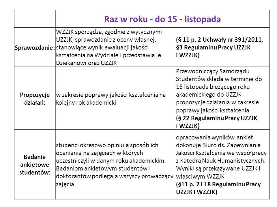 Raz w roku - do 15 - listopada Badanie ankietowe studentów: