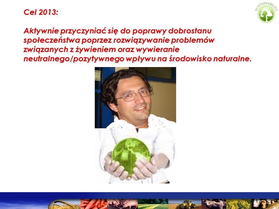 Cel 2013: Aktywnie przyczyniać się do poprawy dobrostanu społeczeństwa poprzez rozwiązywanie problemów związanych z żywieniem oraz wywieranie neutralnego/pozytywnego wpływu na środowisko naturalne.