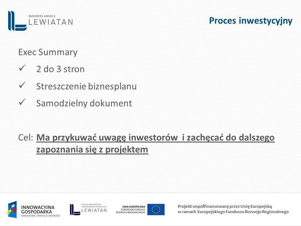 Proces inwestycyjny Exec Summary. 2 do 3 stron. Streszczenie biznesplanu. Samodzielny dokument.