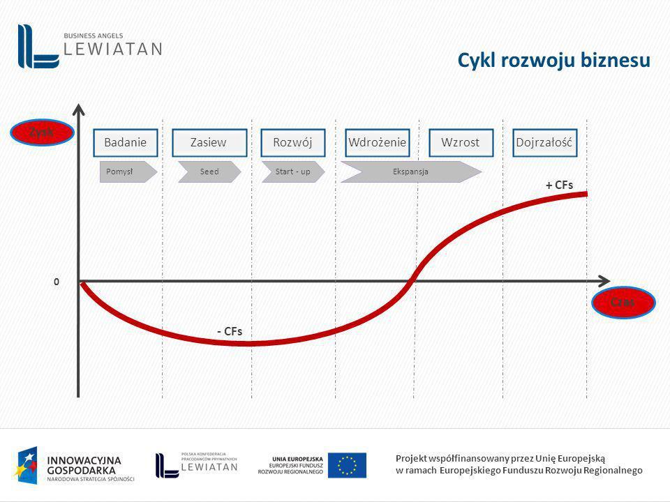 Cykl rozwoju biznesu Badanie Zasiew Rozwój Wdrożenie Wzrost Dojrzałość