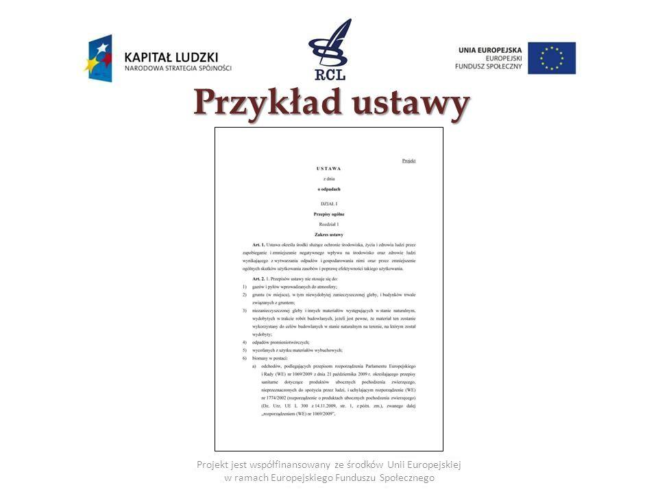 Przykład ustawy Projekt jest współfinansowany ze środków Unii Europejskiej w ramach Europejskiego Funduszu Społecznego.