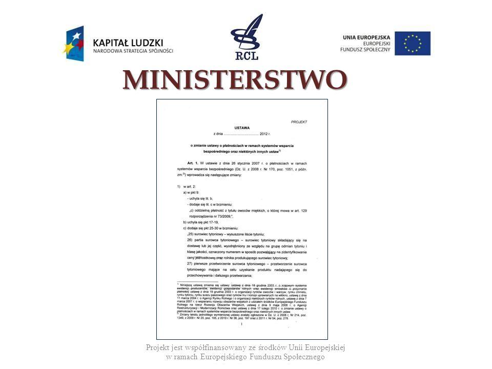 MINISTERSTWO Projekt jest współfinansowany ze środków Unii Europejskiej w ramach Europejskiego Funduszu Społecznego.
