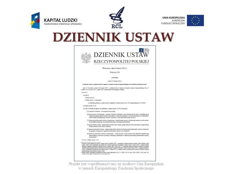DZIENNIK USTAW Projekt jest współfinansowany ze środków Unii Europejskiej w ramach Europejskiego Funduszu Społecznego.