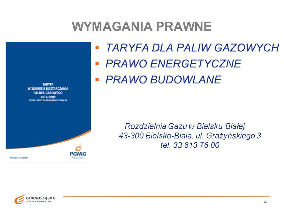 WYMAGANIA PRAWNE TARYFA DLA PALIW GAZOWYCH PRAWO ENERGETYCZNE
