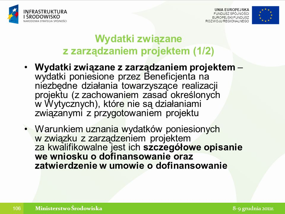 z zarządzaniem projektem (1/2) Ministerstwo Środowiska