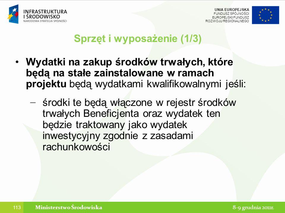 Sprzęt i wyposażenie (1/3) Ministerstwo Środowiska