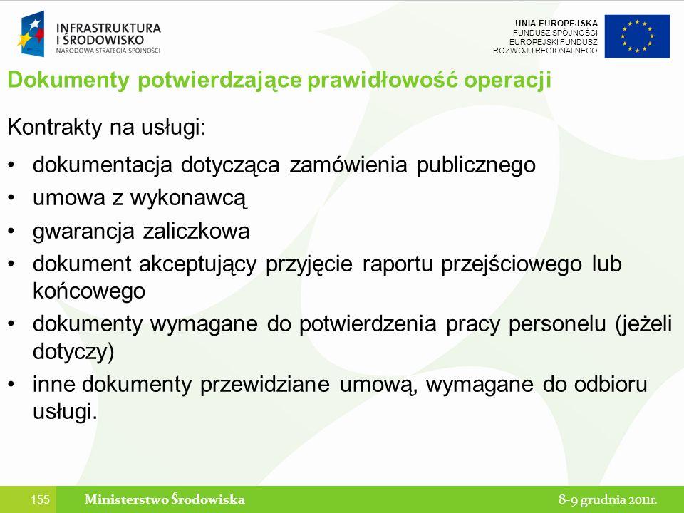 Dokumenty potwierdzające prawidłowość operacji