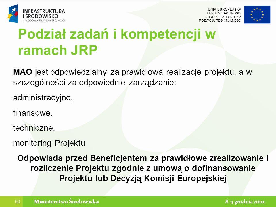 Podział zadań i kompetencji w ramach JRP