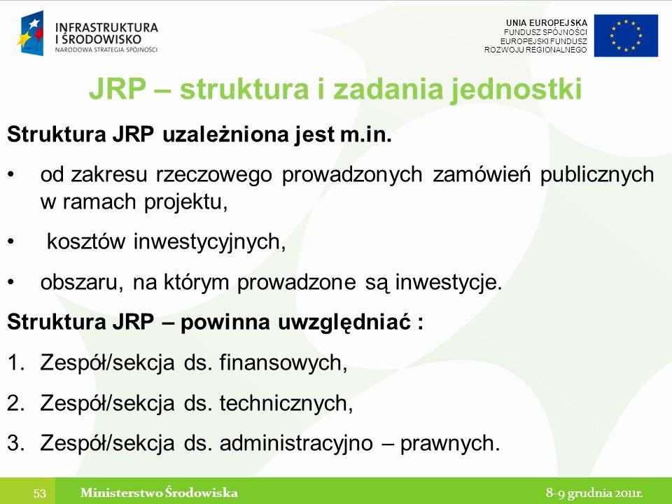 JRP – struktura i zadania jednostki Ministerstwo Środowiska