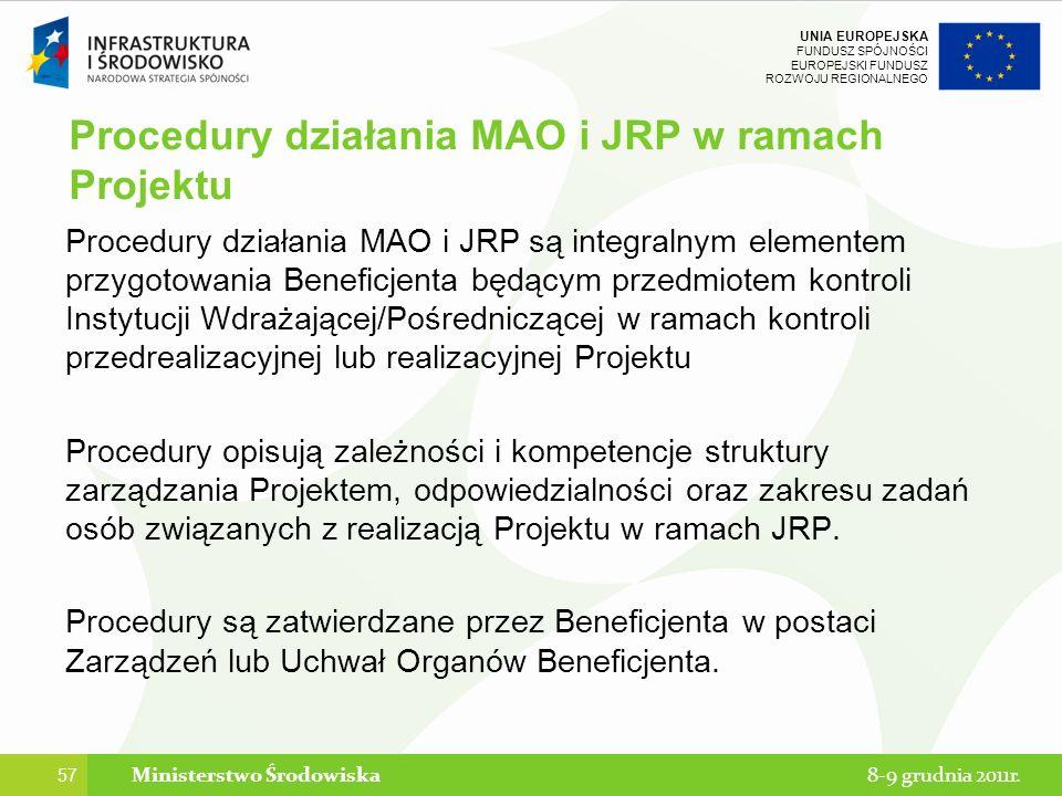 Procedury działania MAO i JRP w ramach Projektu