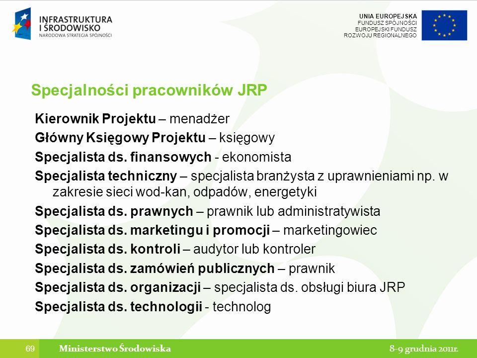 Specjalności pracowników JRP
