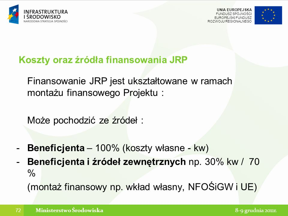 Koszty oraz źródła finansowania JRP