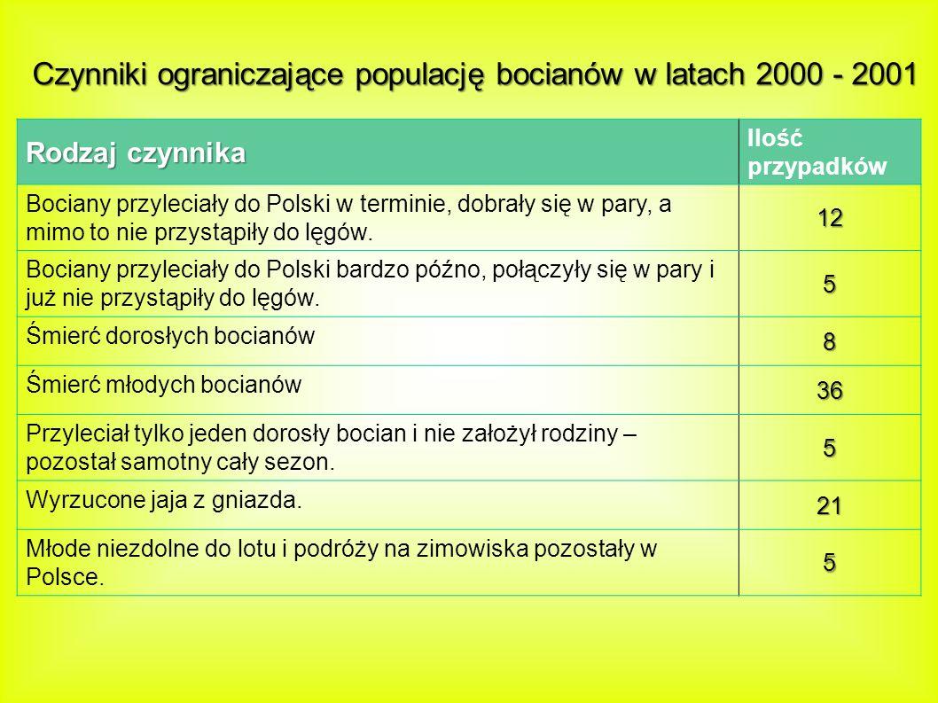 Czynniki ograniczające populację bocianów w latach 2000 - 2001