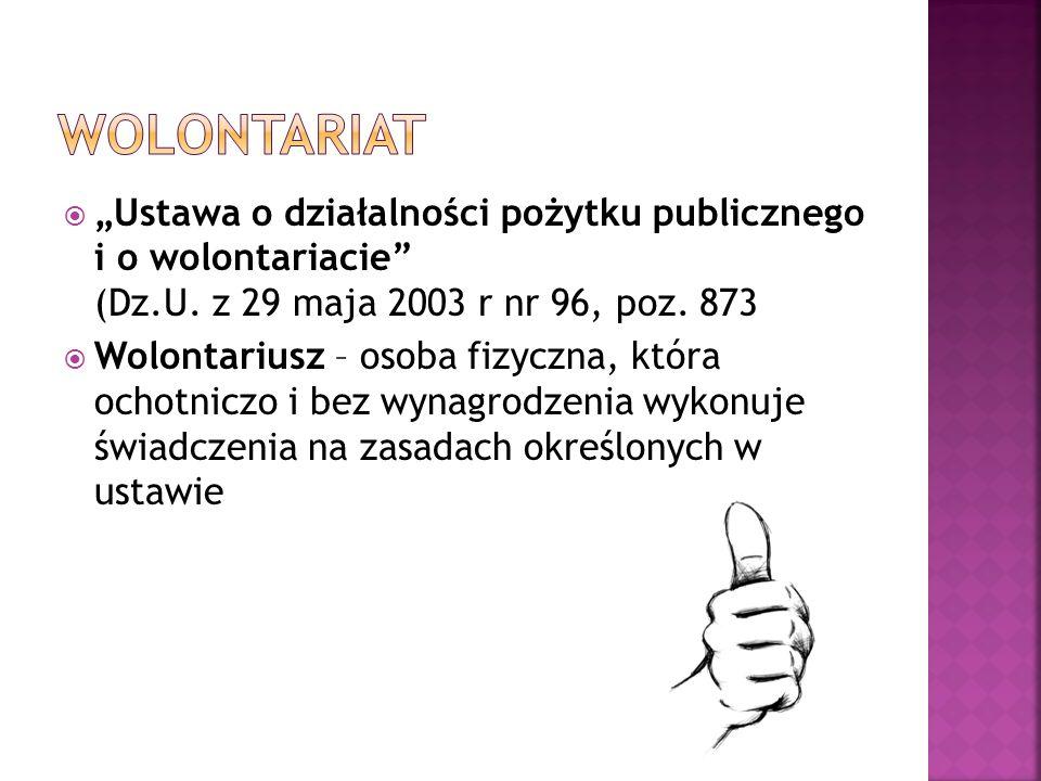 """Wolontariat """"Ustawa o działalności pożytku publicznego i o wolontariacie (Dz.U. z 29 maja 2003 r nr 96, poz. 873."""