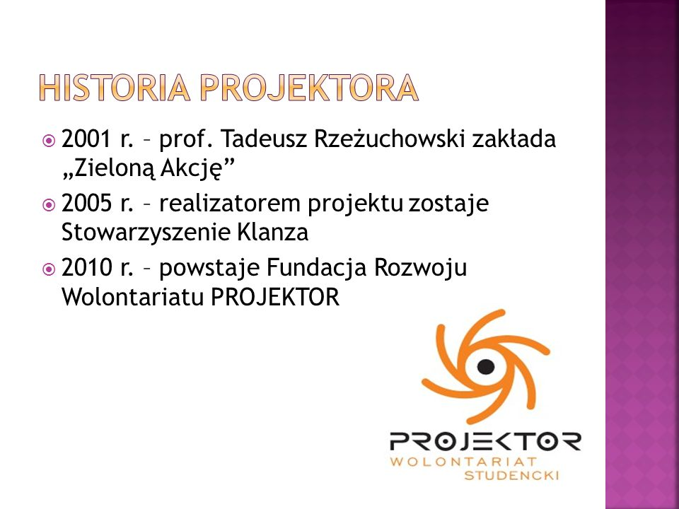 """Historia PROJEKTORA 2001 r. – prof. Tadeusz Rzeżuchowski zakłada """"Zieloną Akcję 2005 r. – realizatorem projektu zostaje Stowarzyszenie Klanza."""