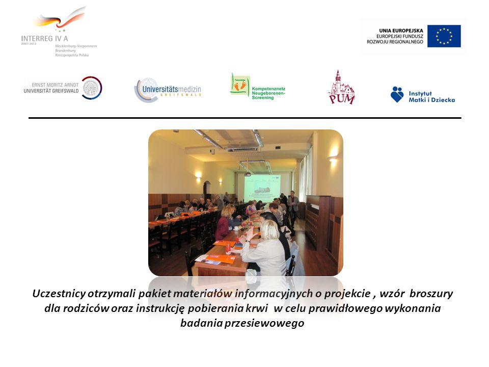 Uczestnicy otrzymali pakiet materiałów informacyjnych o projekcie , wzór broszury dla rodziców oraz instrukcję pobierania krwi w celu prawidłowego wykonania badania przesiewowego